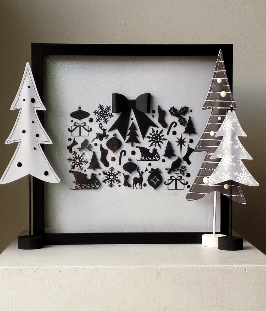 Black White Diy Christmas Shadow Box Ameroonie Designs