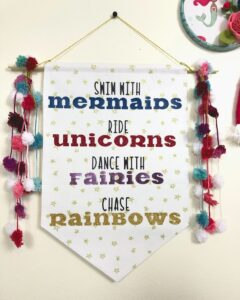 Mermaid and unicorn banner tutorial featured by top US sewing blog, Ameroonie Designs