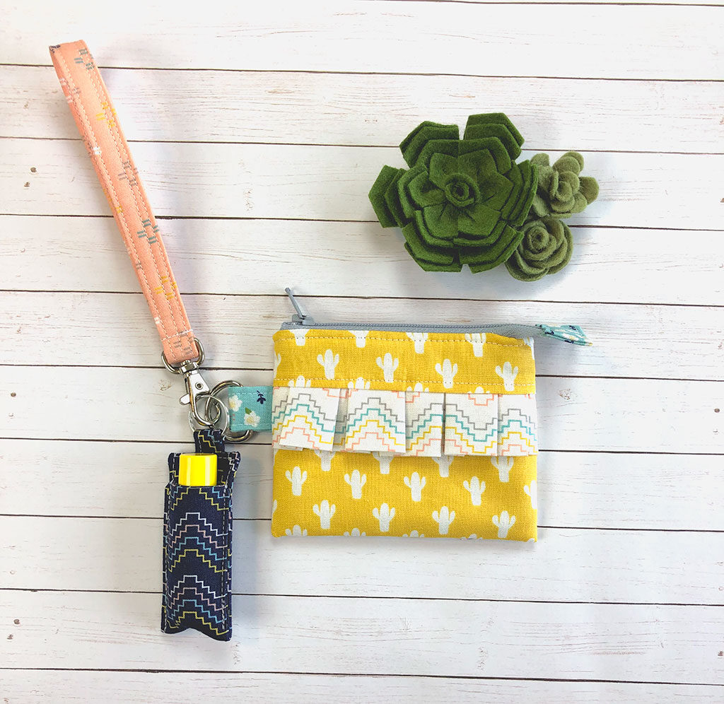 ruffle mini pouch with wrist strap and chapstick holder keychain