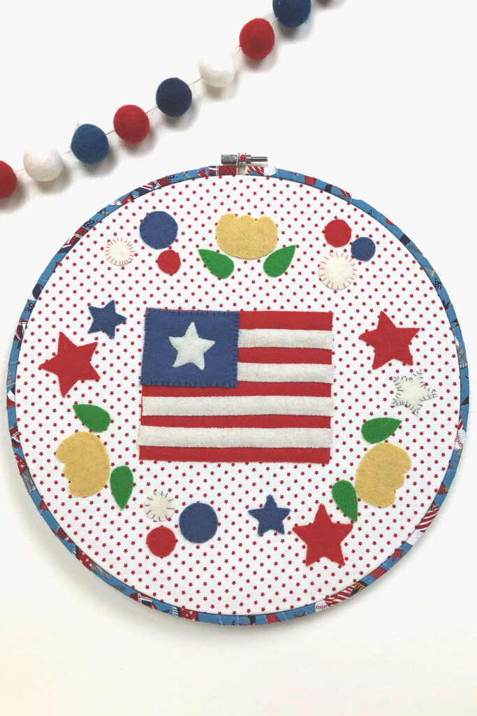 beautiful wool applique with a patriotic theme.
