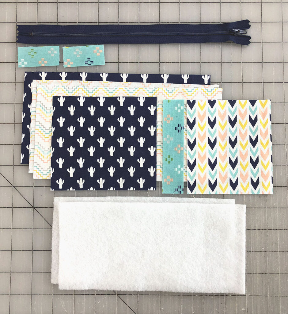 supplies needed for a color blocked zipper pouch