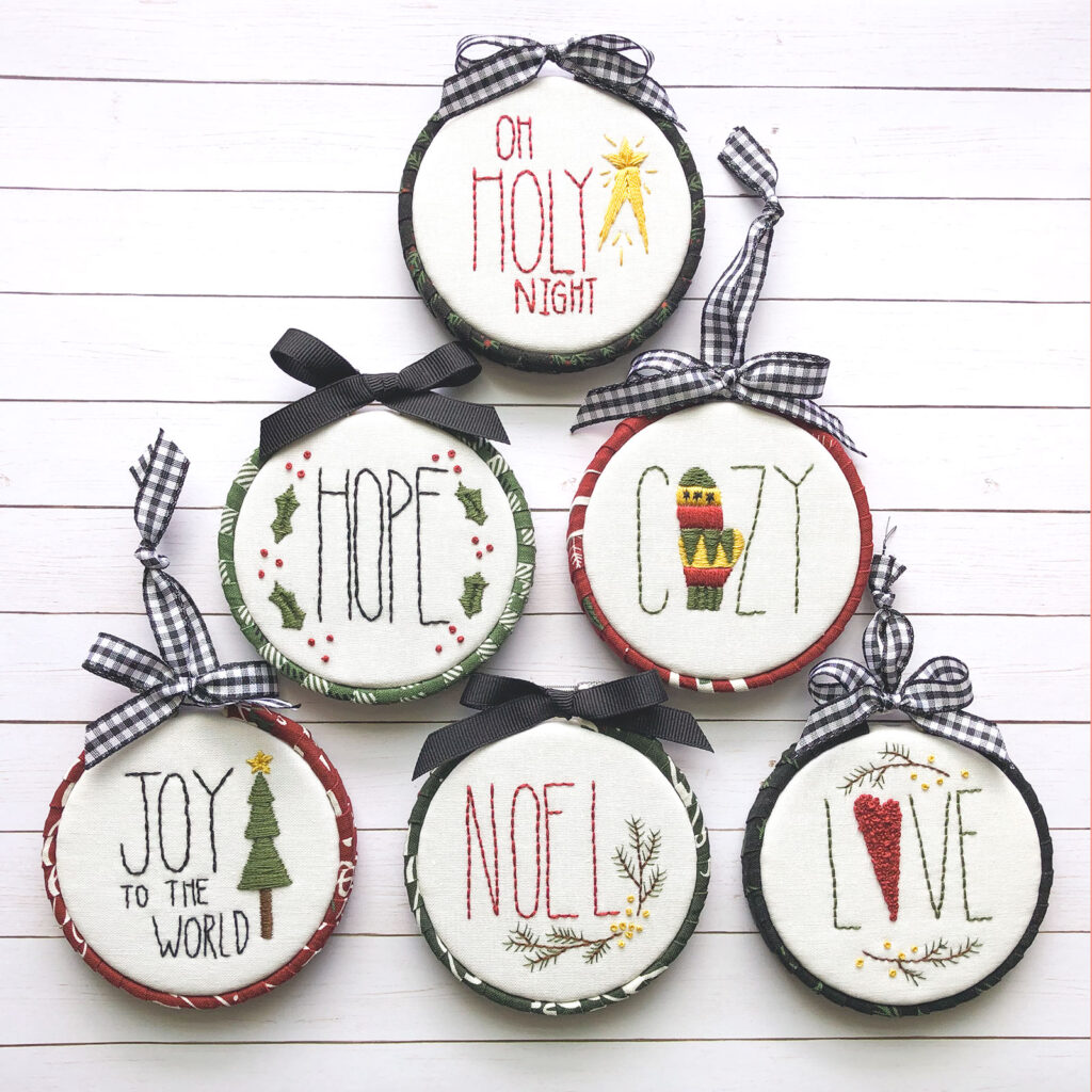 Easy Embroidered Word Ornaments stitch along with top US sewing blog Ameroonie Designs. Image of: embroidered ornaments in a set.