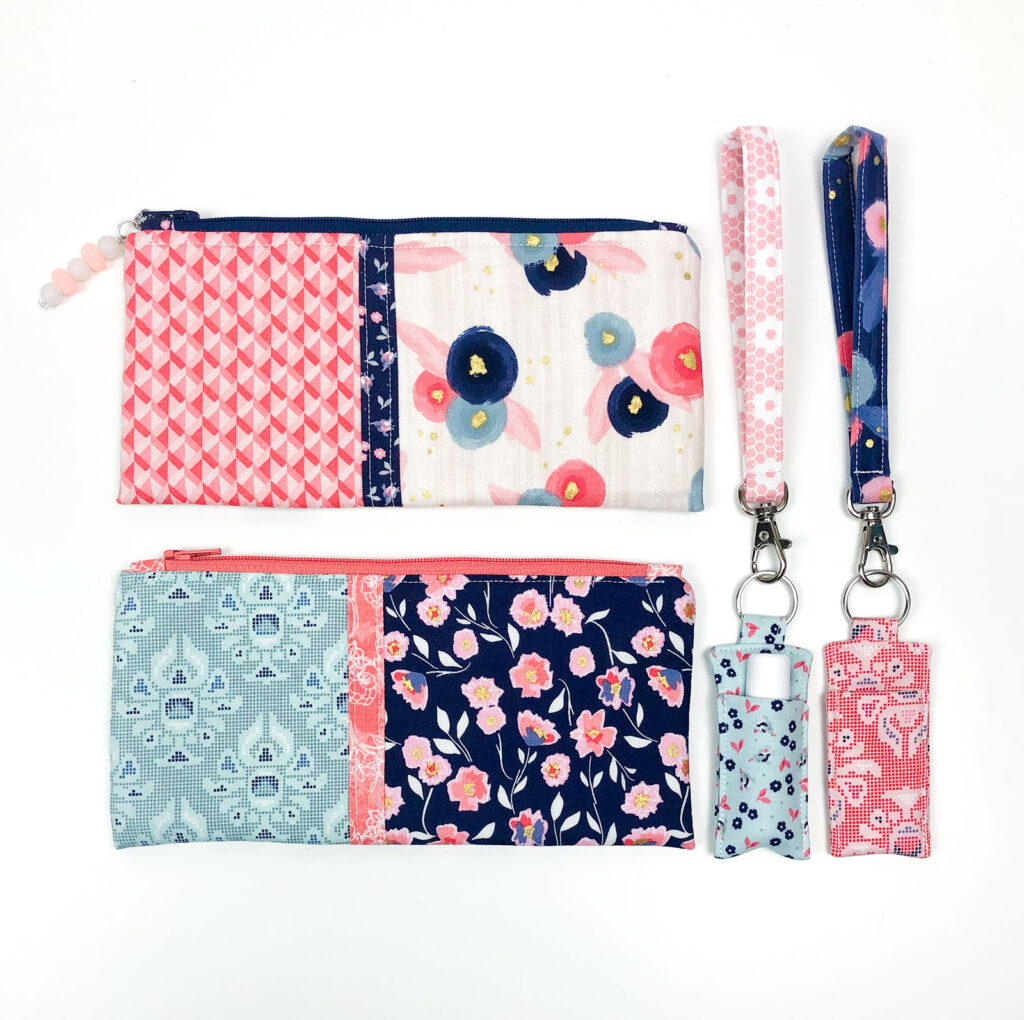 Color block zipper pouches with chapstick holders and wrist straps