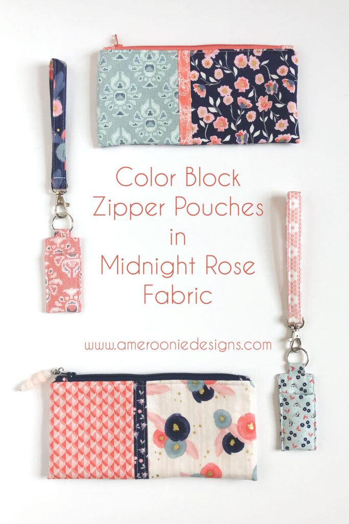Zipper Pouches and chapstick holders with wrist straps made using Midnight Rose fabrics.
