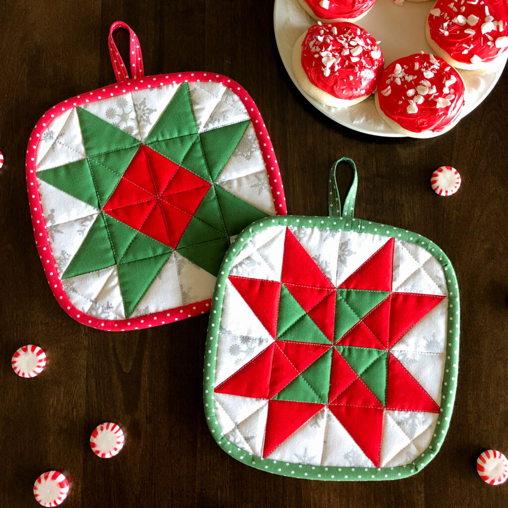 Fabric Christmas Village by Top US sewing blog Ameroonie Designs image of: hot pads made with Christmas fabric.