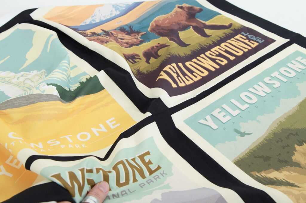 Fabric panels featuring posters of National Parks.
