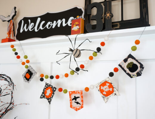 Halloween Mini banner uses felt to embellish fabric pennants