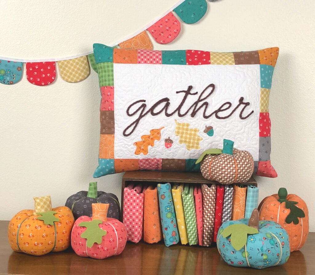 Fall colored fabric pumpkins.