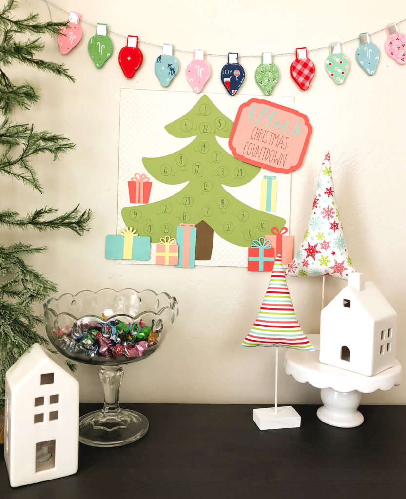 Personalized Christmas Countdown featured by top US craft blog Ameroonie Designs: Image of holiday scene including personalized countdown.