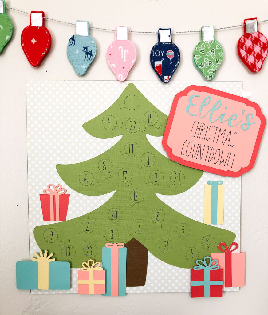 Personalized Christmas Countdown featured by top US craft blog Ameroonie Designs: image of colorful Christmas countdown with decorations.