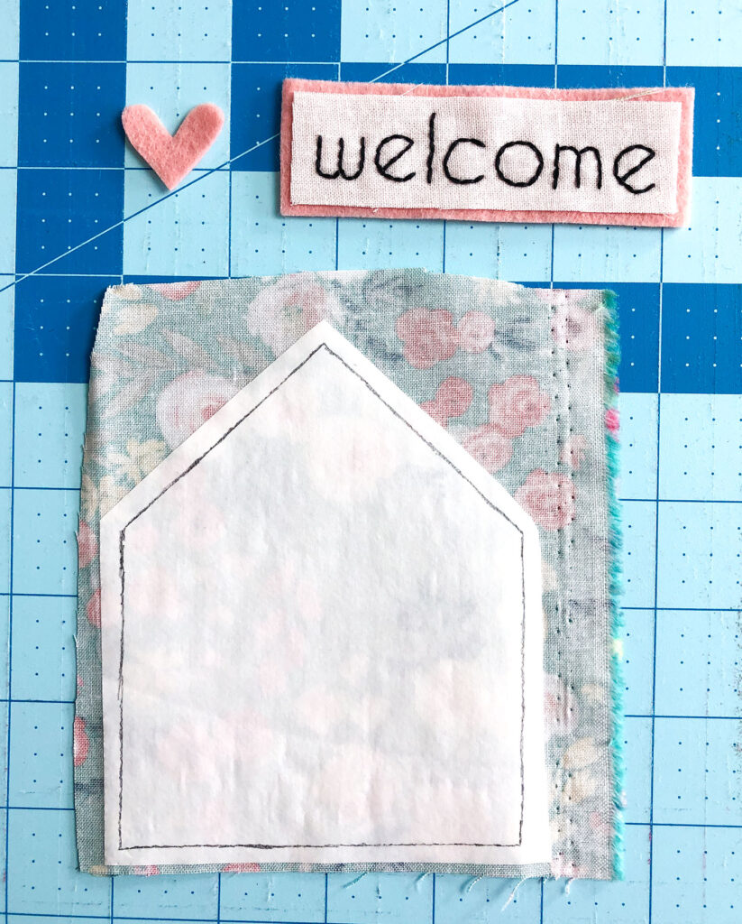 Welcome Wall Banner DIY featured by Top US sewing blog Ameroonie Designs: image reveals embellishments for the welcome banner.
