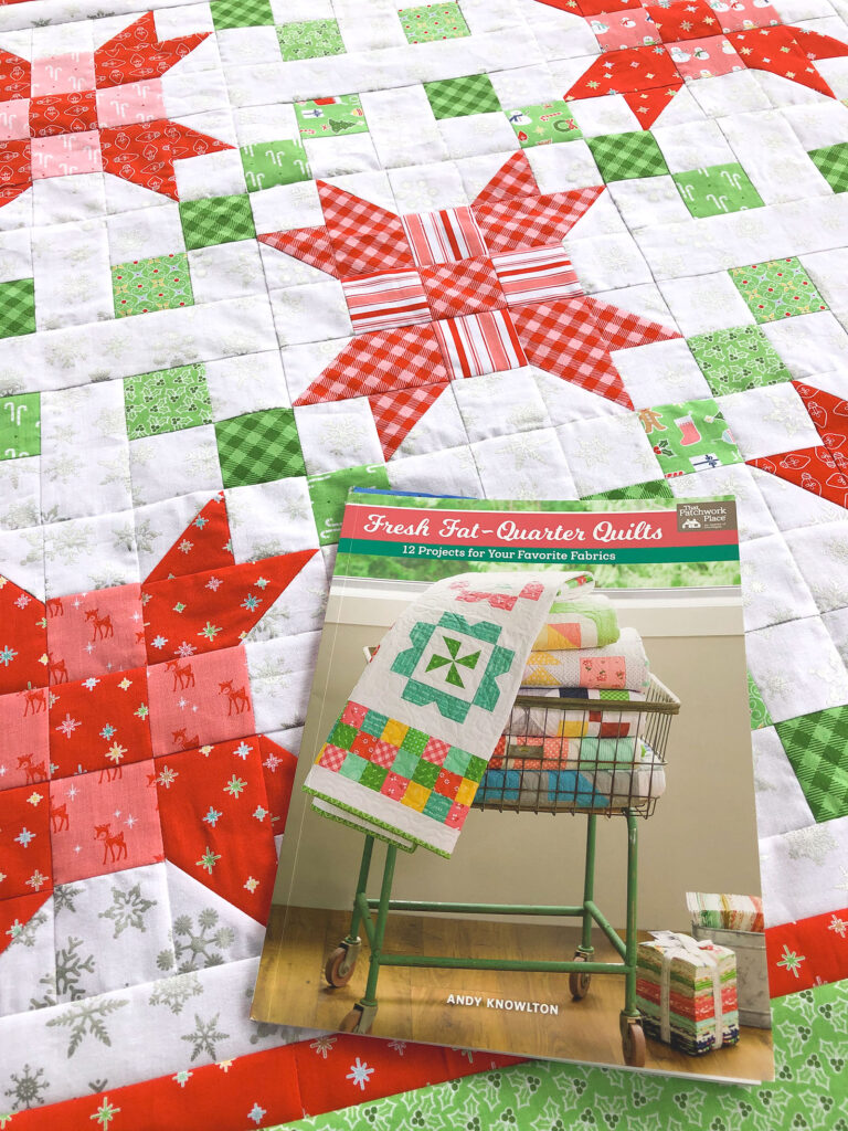 Quilting Book review by top sewing blog Ameroonie Designs: image of a quilt top and copy of Fresh Fat-Quarter Quilts book.