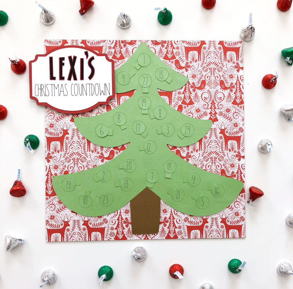 Personalized Christmas Countdown featured by top US craft blog Ameroonie Designs: Image of green countdown tree on red nordic paper.