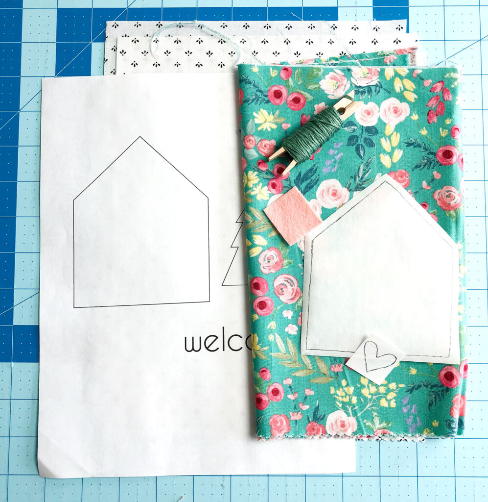 Welcome Wall Banner DIY featured by Top US sewing blog Ameroonie Designs: image of supplies needed to create a wall banner.