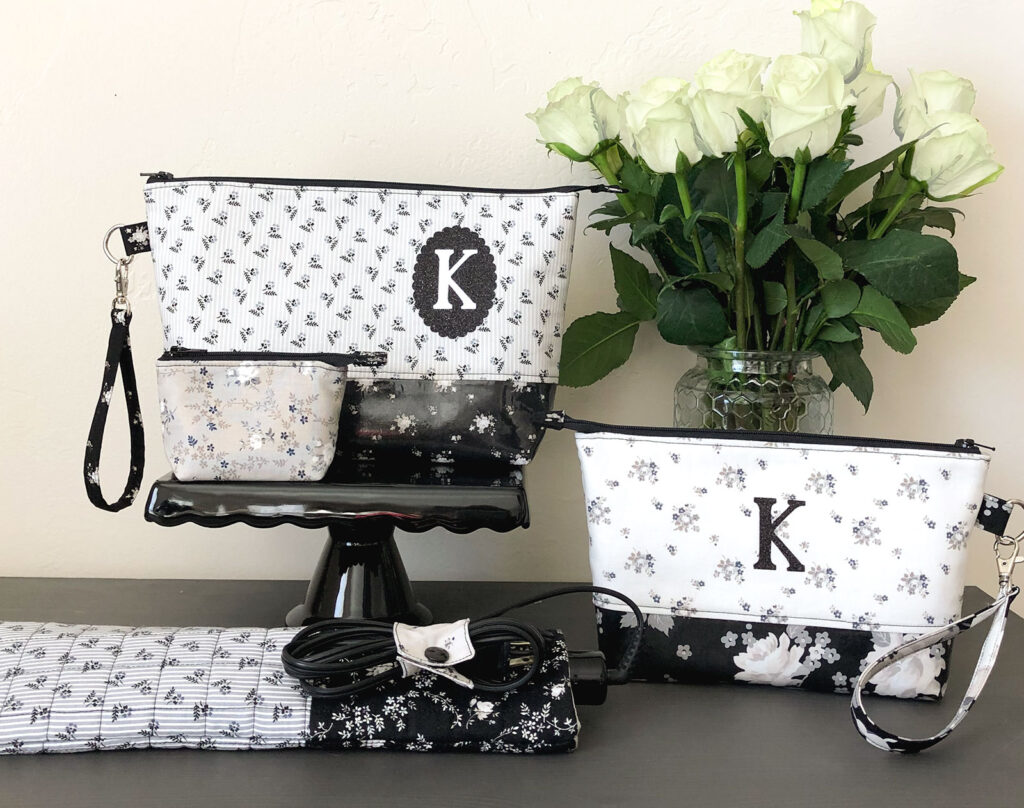 Personalized Zipper Pouch Tutorial featured by top US sewing blog Ameroonie Designs: Use monogram to personalize a zipper pouch set.
