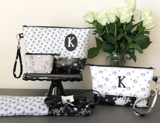 Personalized zipper pouch tutorial featured by top US sewing blog Ameroonie Designs: add monogram to zipper pouch