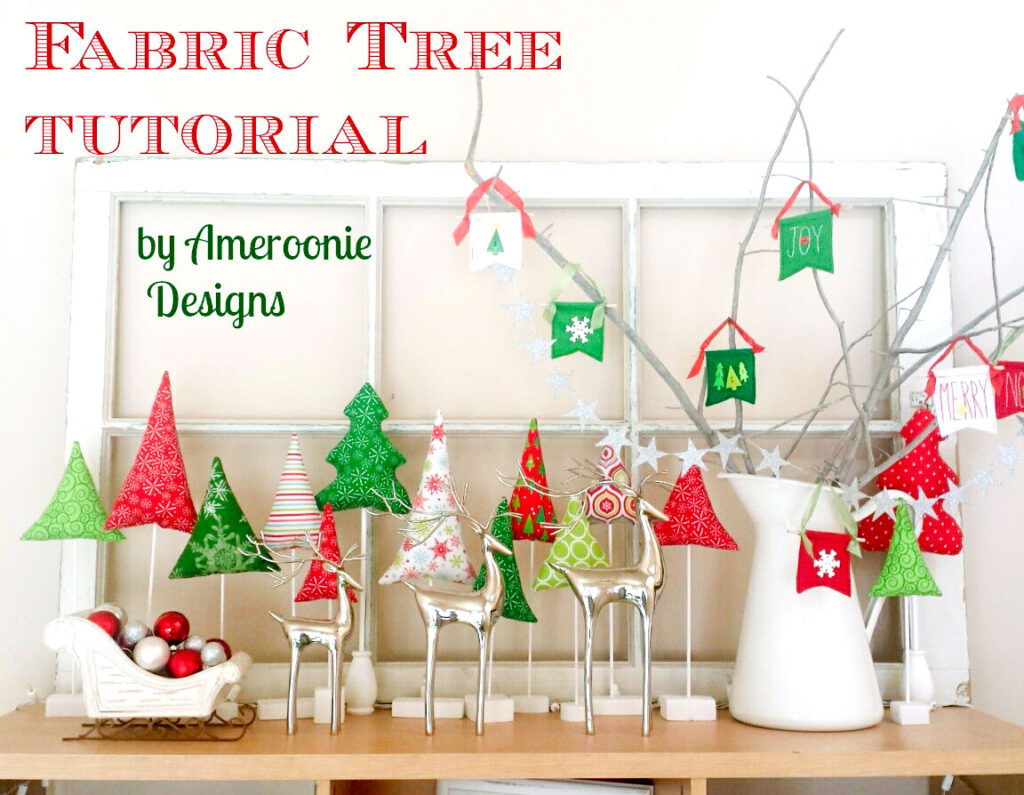 Fabric Tree tutorial by top US sewing blog Ameroonie Designs: Image of holiday scene with deer, sleigh and fabric trees.