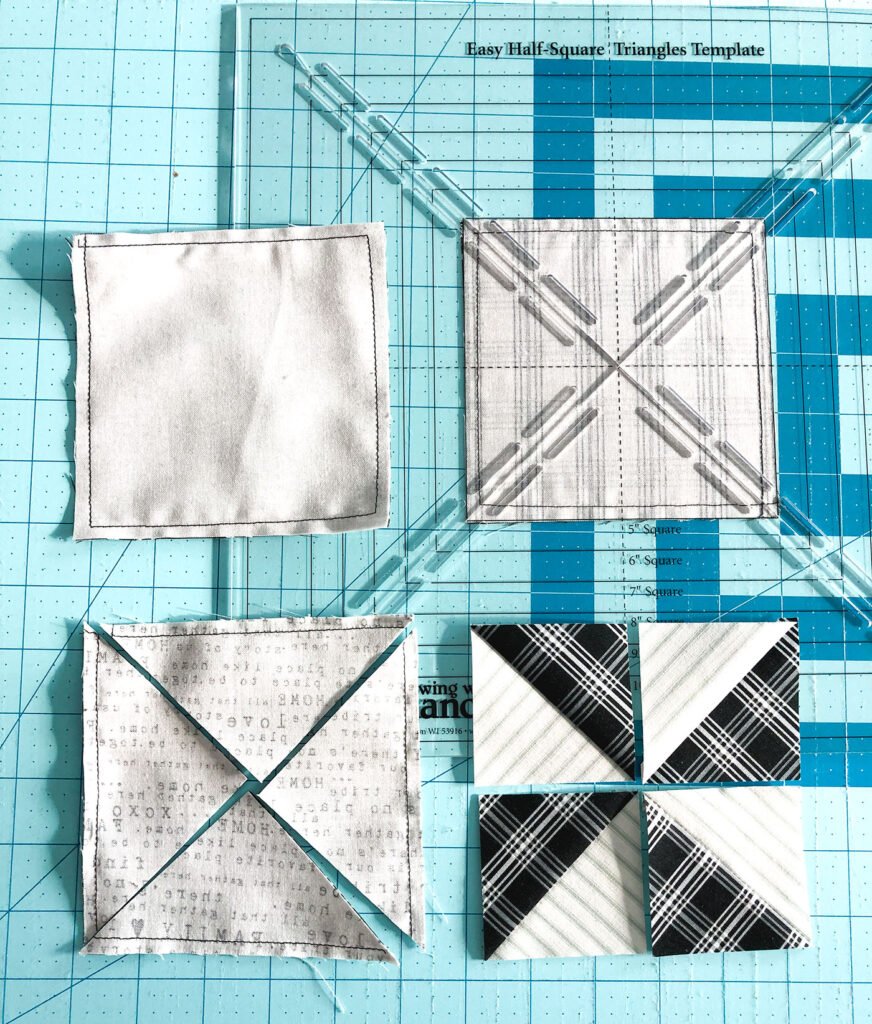 Quilted Euro Sham tutorial by top US sewing blog Ameroonie Designs: image of assembling pinwheel blocks using the four at a time method.