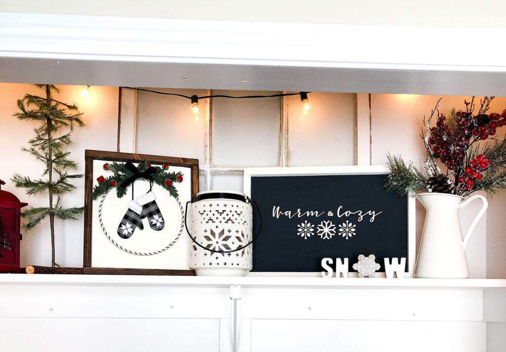 DIY Winter Decor Sign from top US craft blogger Ameroonie Designs: image of shelf with winter decor.