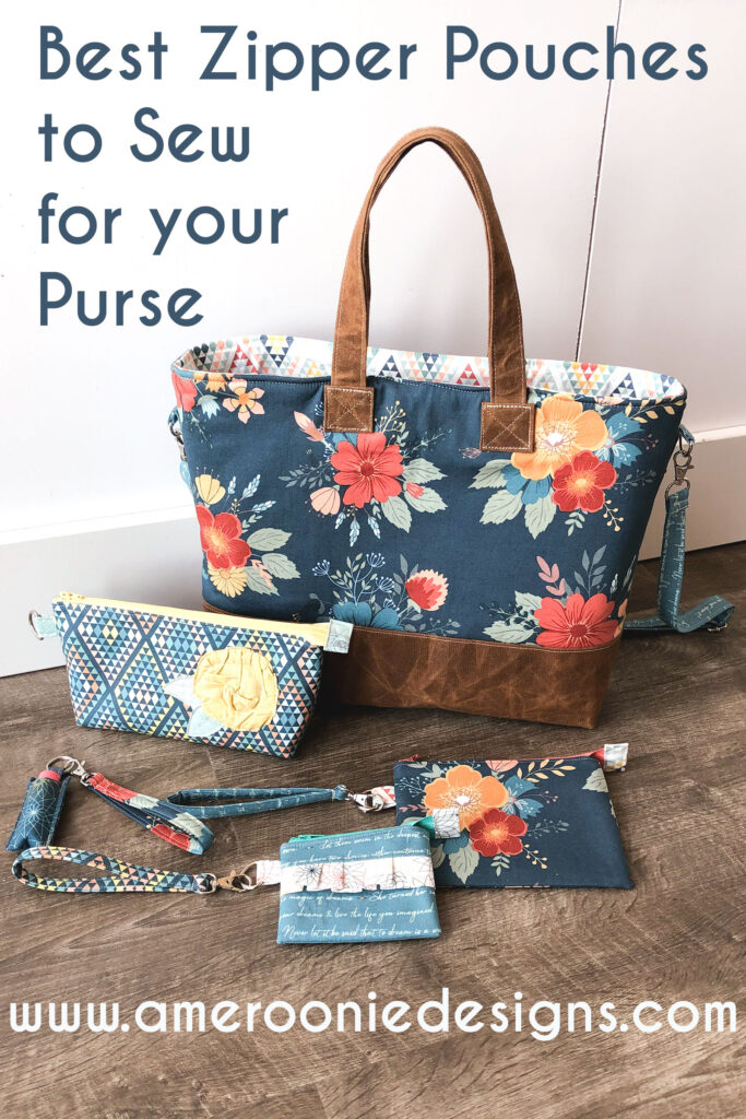 Best Zipper Pouches to sew for your purse featuring Top US sewing blog Ameroonie Designs: image of tote bag with zipper pouches.
