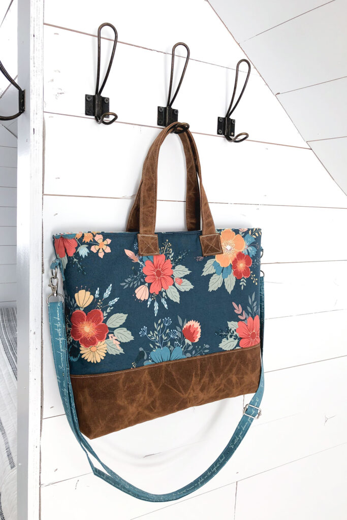 Best Zipper Pouches to sew for your purse featuring Top US sewing blog Ameroonie Designs: image of tote bag made with Dream Weaver fabric and waxed canvas.