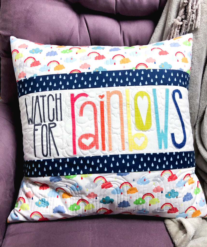 Watch for Rainbows Pillow Tutorial by Top US sewing blog Ameroonie Designs. Image of: quilted details of pillow.
