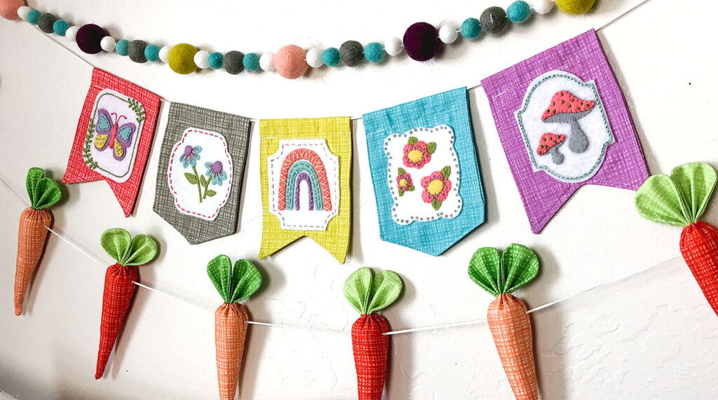Texture Fabric Blog Tour by Top US sewing blog Ameroonie Designs: image of spring garlands using felt poms, fabric carrots and mini banners