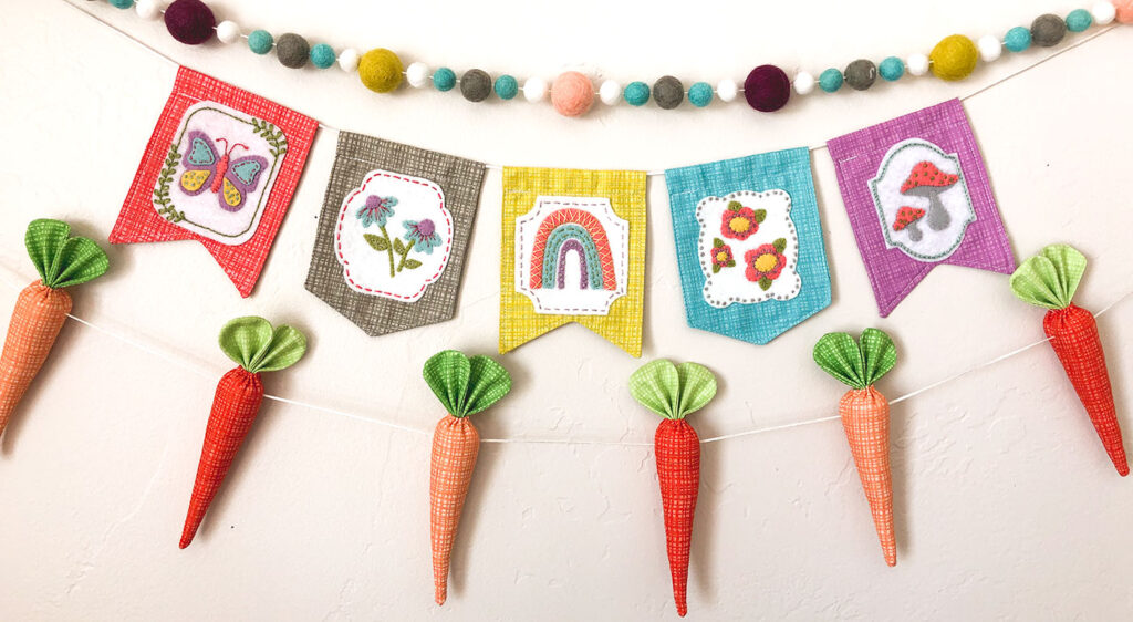 Texture Fabric Blog Tour by Top US sewing blog Ameroonie Designs: image of spring mini banner using applique and embroidery