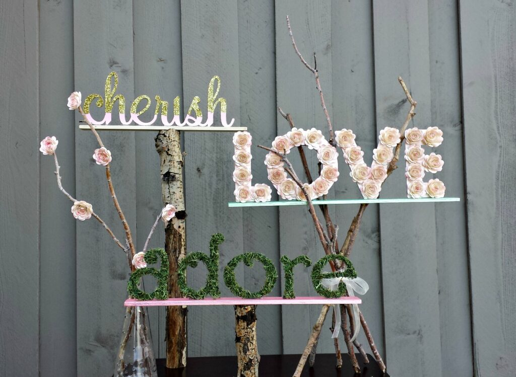 Amazing Cricut Projects to make at home by Top US craft blog Ameroonie Designs. Image of word art made using cereal boxes and paint sticks