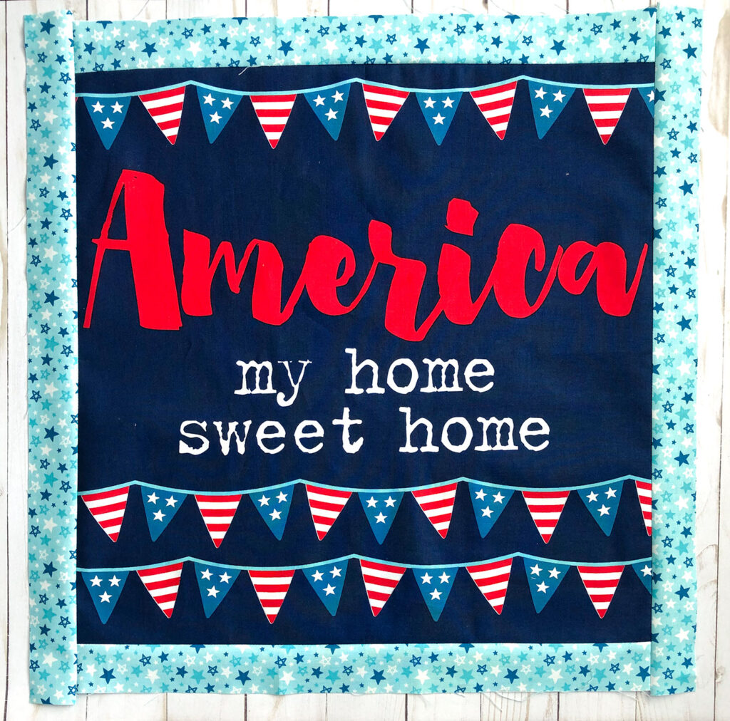 Patriotic Porch Pillow Tutorial by Top US sewing blog Ameroonie Designs. Image of: sewing borders on pillow front.