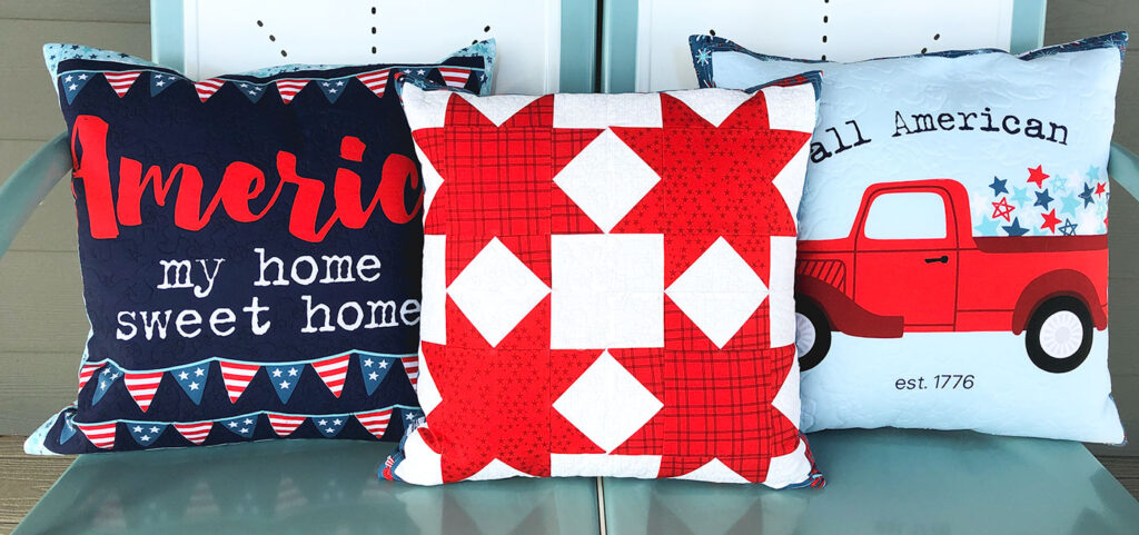 Patriotic Porch Pillow Tutorial by Top US sewing blog Ameroonie Designs. Image of: pillows on glider on porch