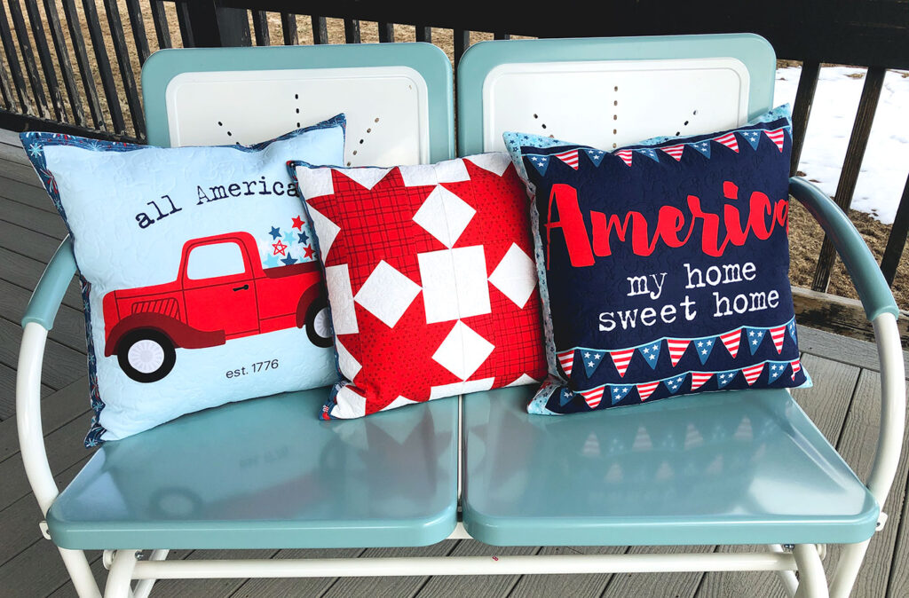 Patriotic Porch Pillow Tutorial by Top US sewing blog Ameroonie Designs. Image of: Red white and blue pillows on porch