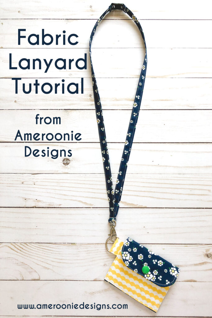 Fabric Lanyard Tutorial by Top US sewing blog Ameroonie Designs image of: fabric lanyard with safety clasp and mini wallet attached.