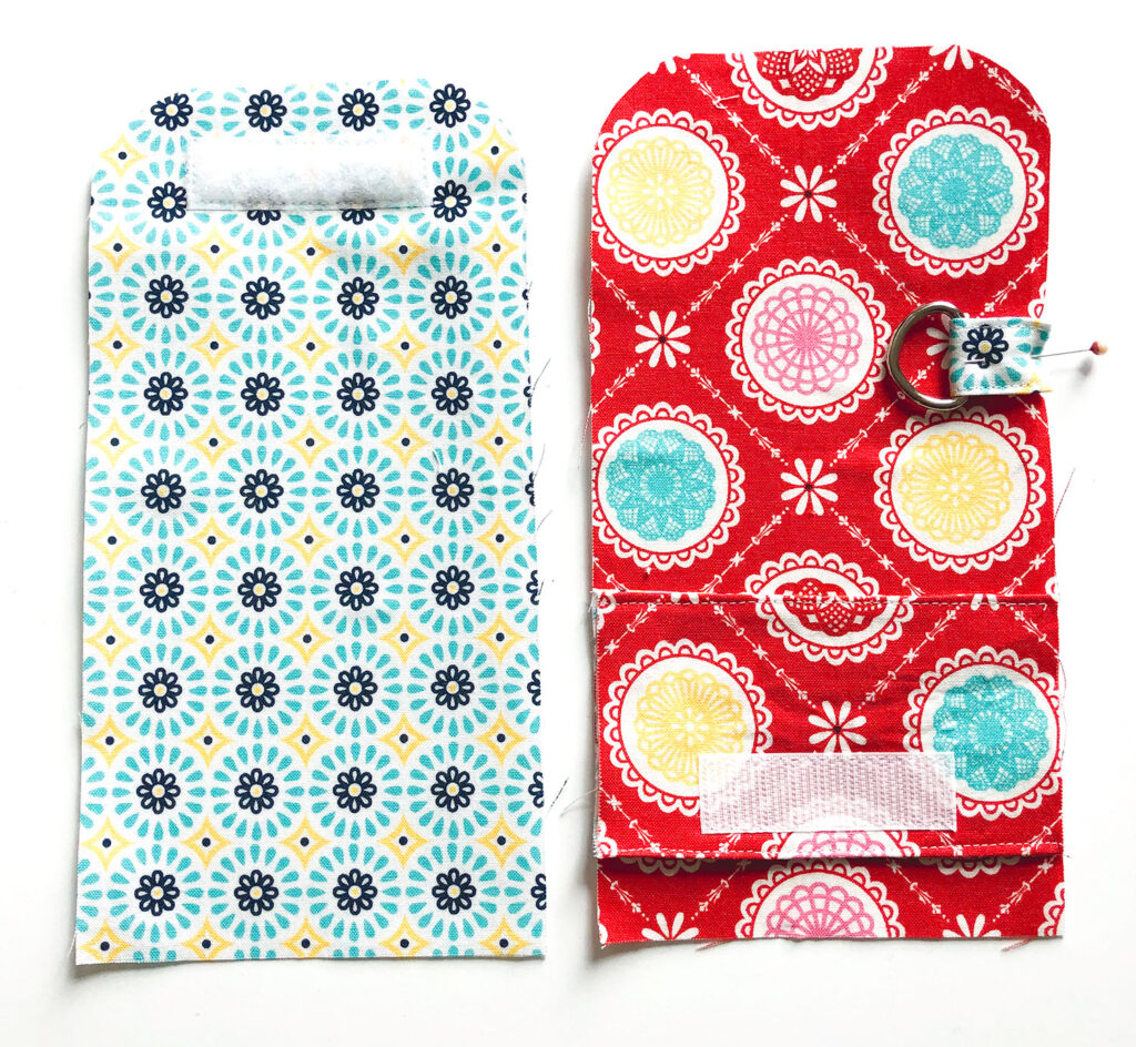 Mini Wallet Tutorial by Top US sewing blog Ameroonie Designs. Image of: preparing wallet with hook and loop closure.