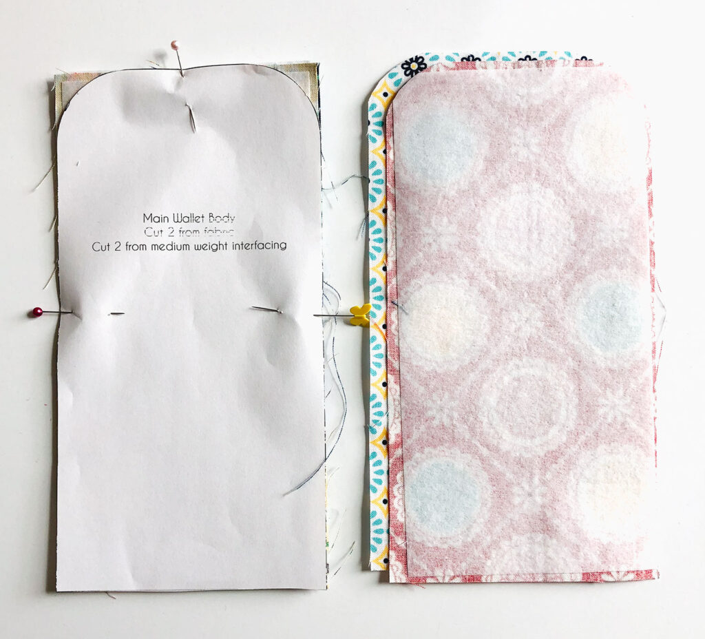 Mini Wallet Tutorial by Top US sewing blog Ameroonie Designs. Image of: using printed pattern to create wallet pieces.