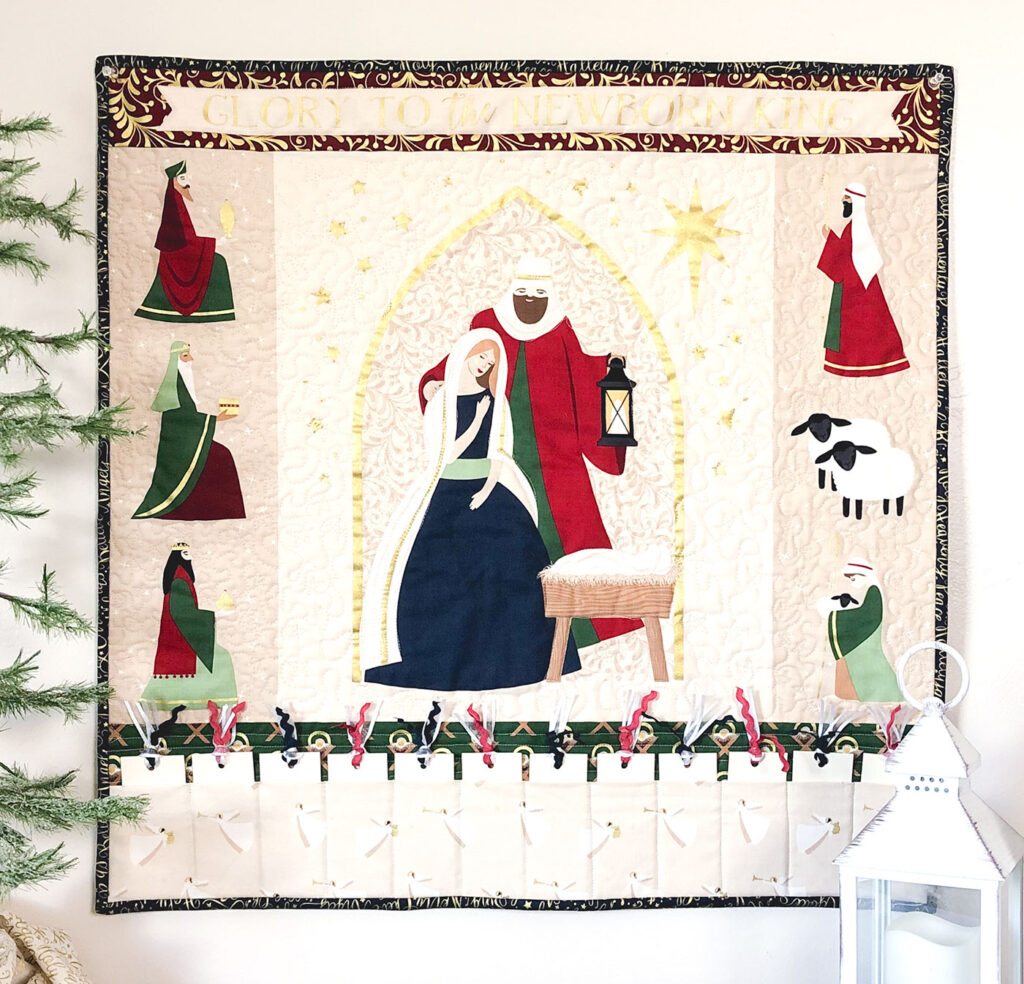 Advent Mini Quilt by top US sewing blog Ameroonie Designs. Image of: advent mini quilt featuring panel from Oh Holy Night fabric.
