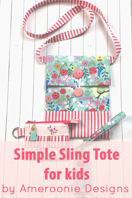 How to Sew a Small Sling Bag for Kids, a tutorial featured by top US sewing blog, Ameroonie Designs: sling tote for kids pattern