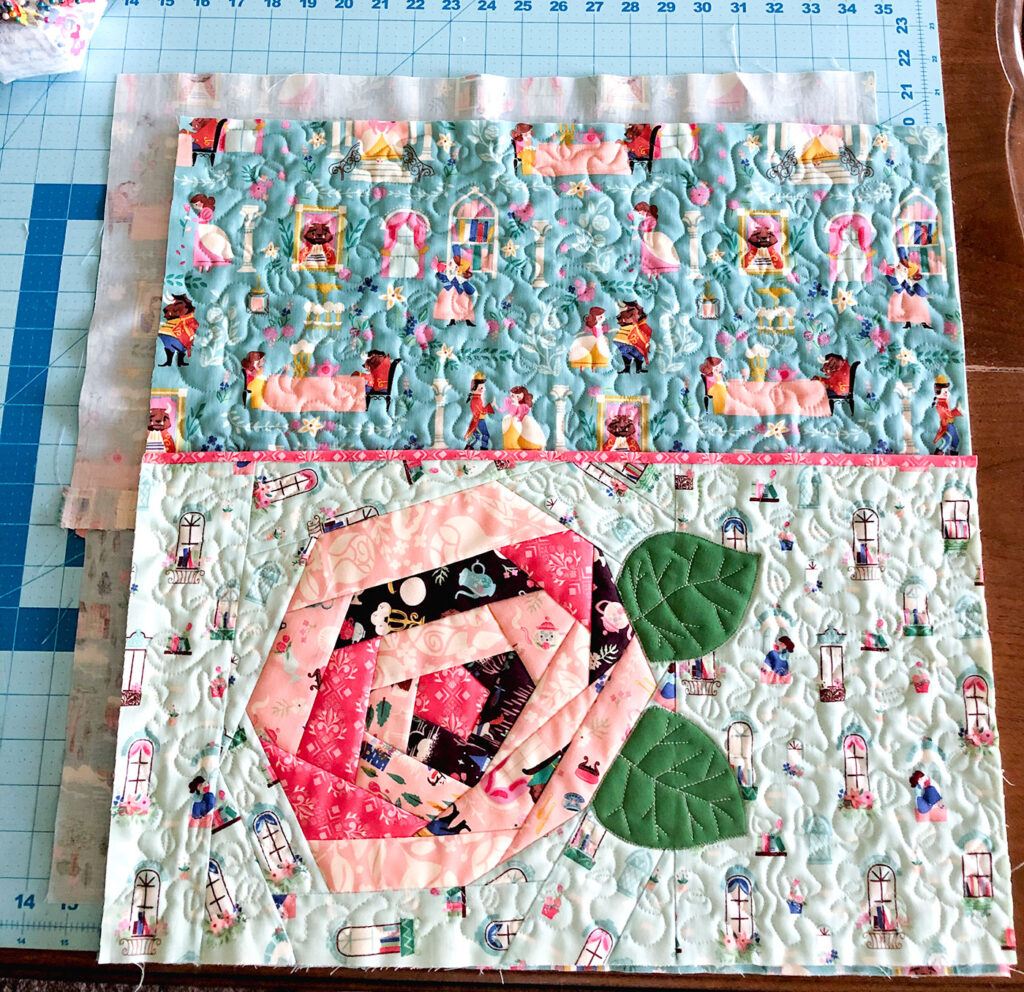 QAYG Rose Reading Pillow by top US sewing blog Ameroonie Designs. Image of: assembling the layers of the pillow together.