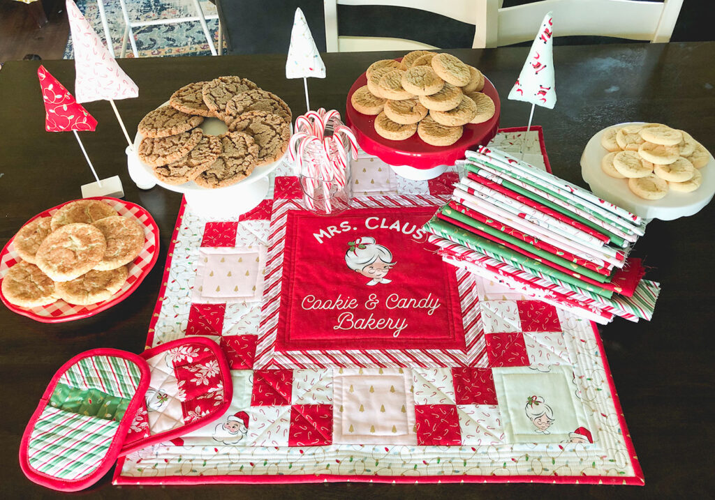 How to Sew a Hot Pad with Pockets by top US sewing blog Ameroonie Designs. Image of: Project and fabric from Santa Claus Lane fabric line.