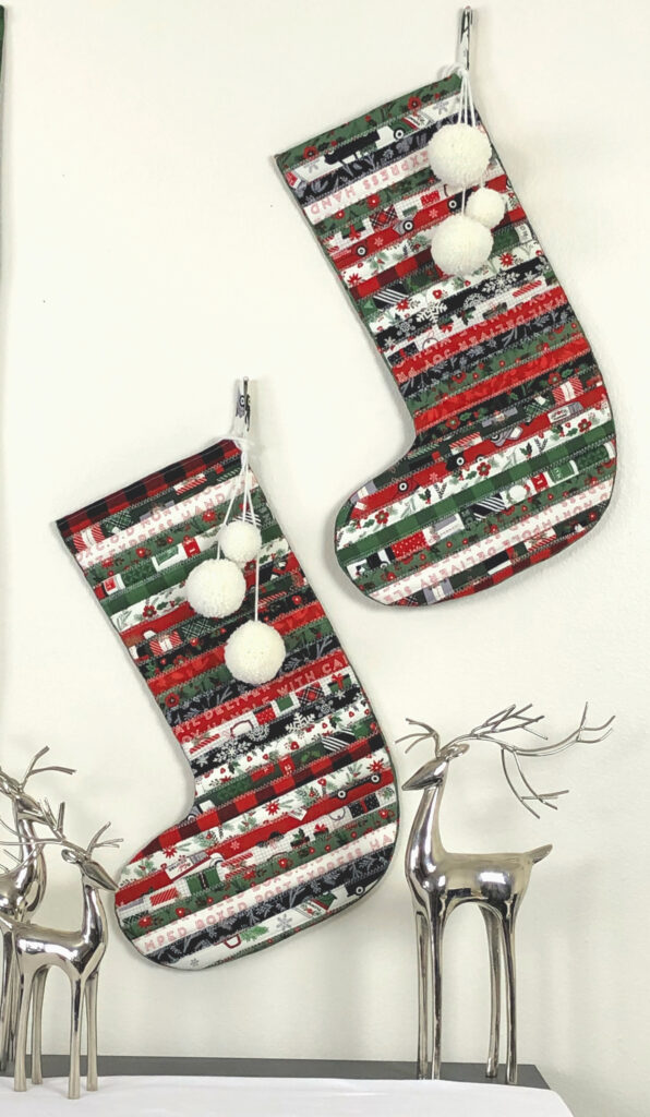 "Fabric Christmas Village by Top US sewing blog Ameroonie Designs image of: stockings made with 2 1/2"" precut fabric strips."