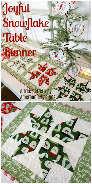 Snowflake table runner with Free Pattern, a tutorial featured by top US sewing blog, Ameroonie Designs: free sewing pattern for this Joyful Snowflake table runner