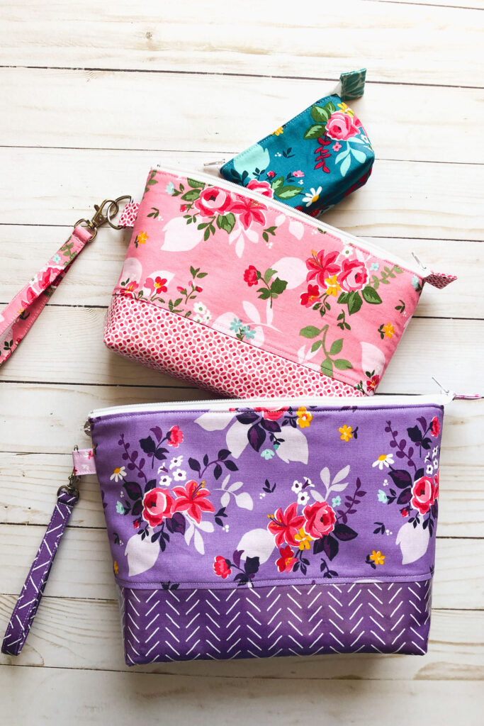 Handmade travel accessories from top US sewing blog Ameroonie Designs. Image of nesting pouches.