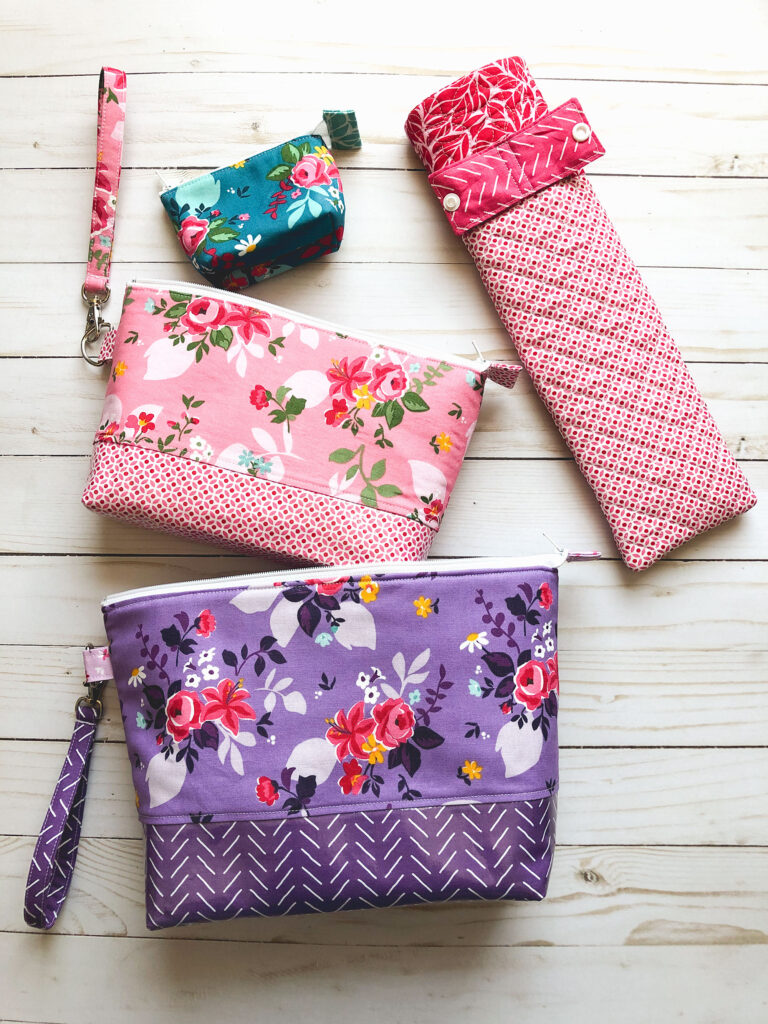 Curling iron travel case sewing tutorial by top US sewing blog Ameroonie Designs. Image of curling iron sleeve with travel pouches.