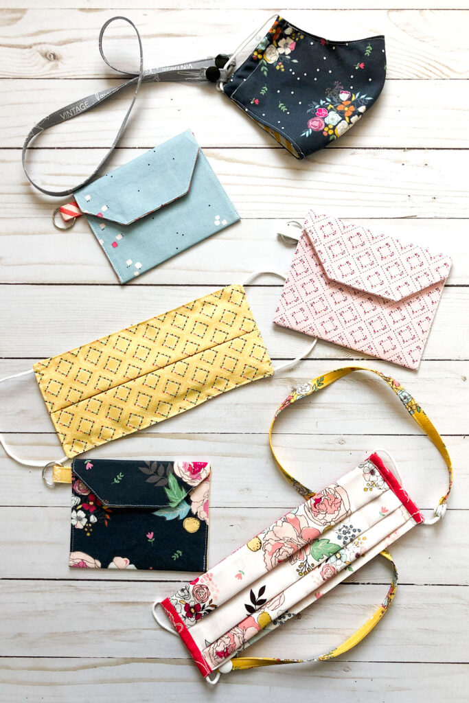 Accessorize your face mask tutorials by top US sewing blog Ameroonie Designs. Image of masks with pouches and straps.