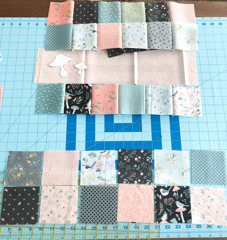 Patchwork doll quilt by top US sewing blog Ameroonie Designs. Image of creating patchwork rows.