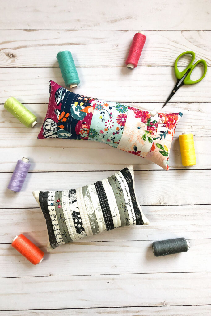 Scraptastic and simple Strip Pincushion by top US sewing blog Ameroonie Designs. Image of: quilted pincushions using fabric strips.