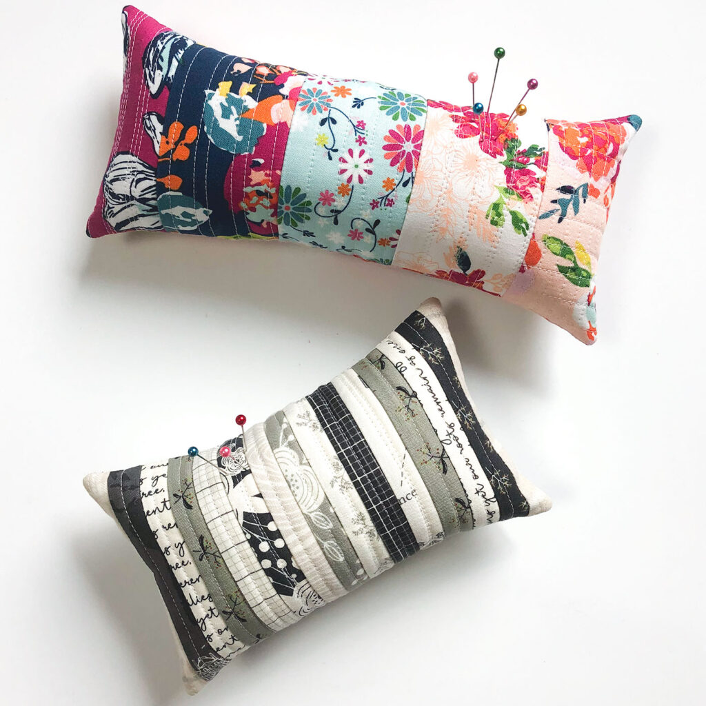 Scraptastic and simple Strip Pincushion by top US sewing blog Ameroonie Designs. Image of:  colorful and neutral pincushions.