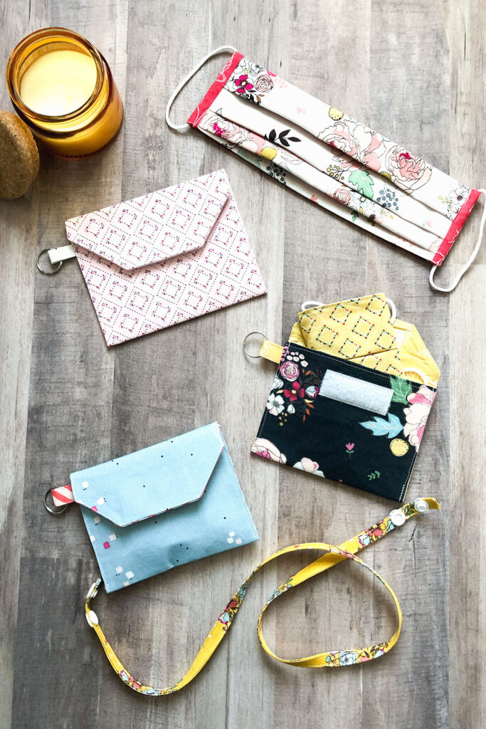 Accessorize your face mask tutorials by top US sewing blog Ameroonie Designs. Image of accessories for masks- pouches and straps.