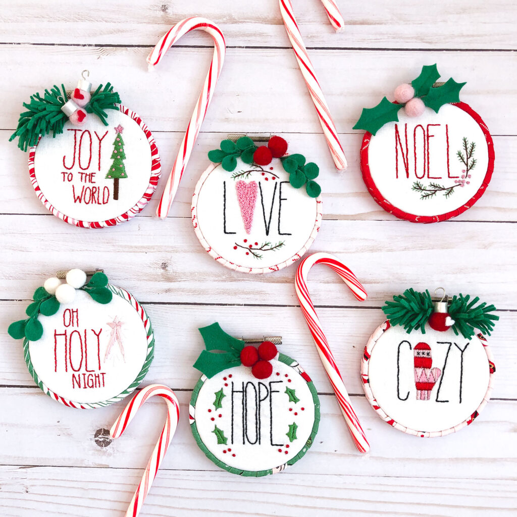 Customized Embroidered Ornaments by Top US craft blog Ameroonie Designs. Image of ornaments with candy canes.