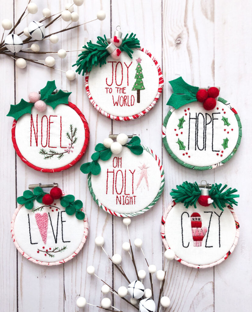 Customized Embroidered Ornaments by Top US craft blog Ameroonie Designs. Image of embroidered ornaments with berries.